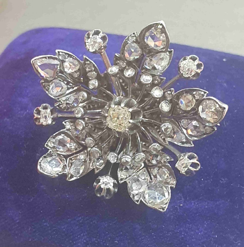 victorian old cut diamonds brooch set into gold vermeil over silver